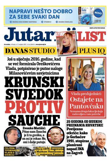 Jutarnji list - naslovnica