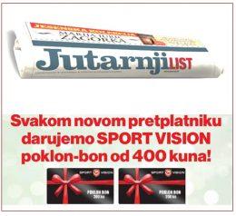 Jutarnji list + poklon bon Sport Vision - naslovnica