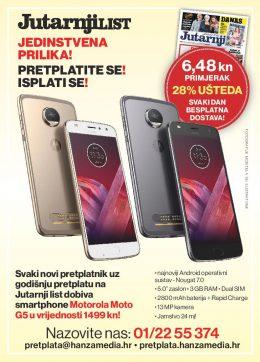 Jutarnji list + smartphone Motorola Moto G5 - naslovnica