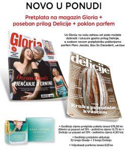 Gloria + Delicije + parfem Marc Jacobs - naslovnica
