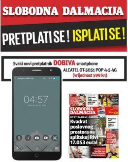 Slobodna Dalmacija + mobitel Alcatel - naslovnica