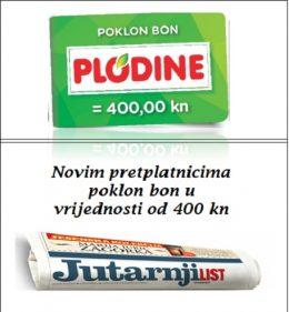 Jutarnji list+Plodine bon 400 - naslovnica