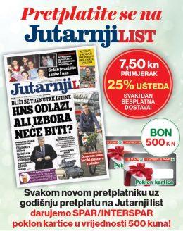 Jutarnji list + Spar 500 kn - naslovnica