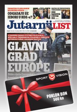 Godišnja pretplata na Jutarnji list uz poklon Sport Vision bon u vrijednosti 500 HRK - naslovnica