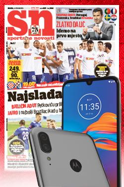 Godišnja pretplata na Sportske novosti uz poklon mobitel Motorola E6 Plus - naslovnica