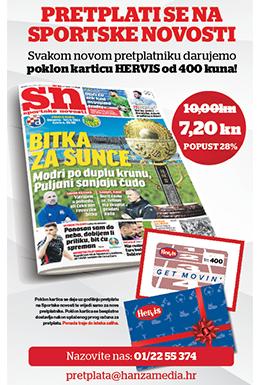 Godišnja pretplata na Sportske novosti uz Hervis poklon karticu - naslovnica